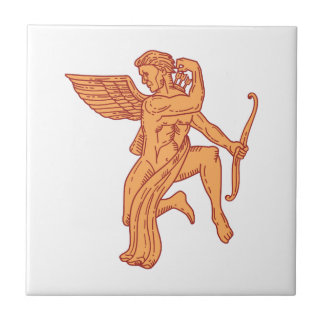 Cupid Bow Drawing Arrow Mono Line Tile