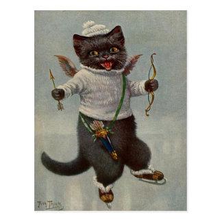 Cupid Cat Skating Vintage early 1900's Postcard