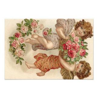 Cupid Cherub Angel Basket Roses Rose Photo Print