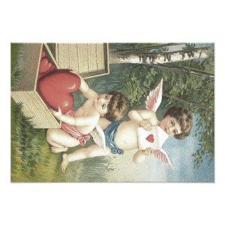 Cupid Cherub Angel Box Heart Valentine Art Photo