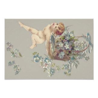 Cupid Cherub Angel Forget-Me-Not Photo Art