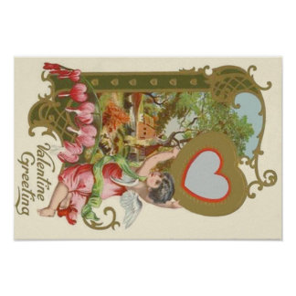 Cupid Cherub Angel Heart Cottage Poster