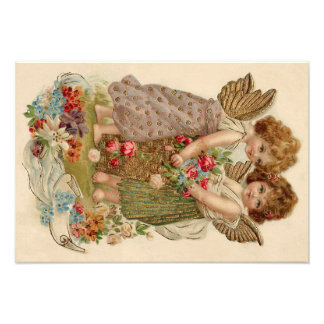 Cupid Cherub Angel Rose Forget-Me-Not Photo Print