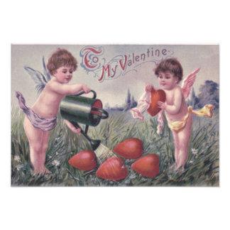Cupid Cherub Angel Watering Heart Art Photo