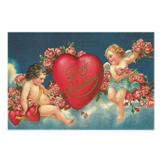 Cupid Cherub Heart Rose Clouds Sky Photographic Print