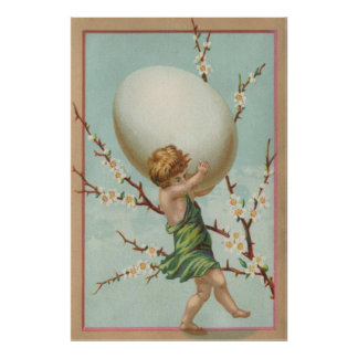 Cupid Easter Egg Dogwood Tree Poster