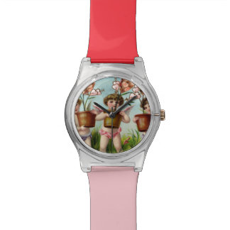 Cupid Flowers Heart Sweethearts Candy Collage Wrist Watch