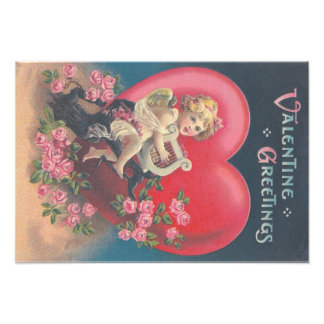Cupid Harp Heart Pink Roses Rose Photograph