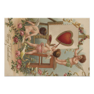 Cupid Heart Painting Roses Rose Poster