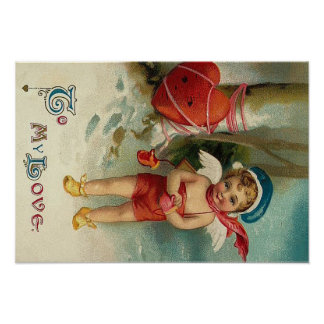 Cupid Heart Tied Up Tree Poster