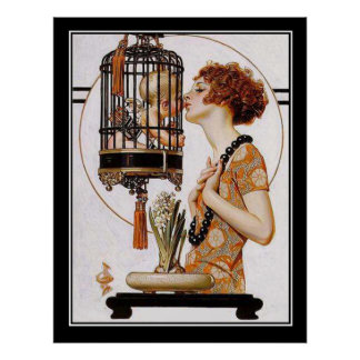 Cupid in a Cage Art Deco Print