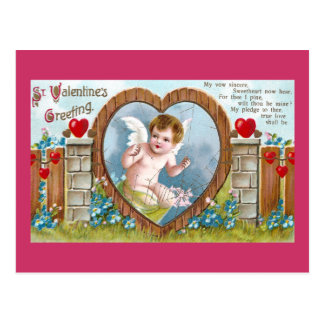 Cupid in Gateway to Your Heart Vintage Valentine Postcard