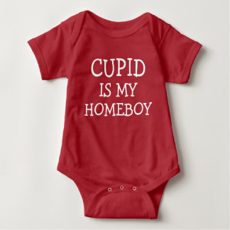 Cupid is my homeboy funny baby boy valentines day baby bodysuit