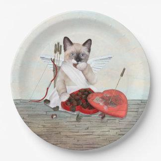 Cupid Kitten Paper Plate