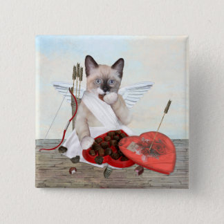 Cupid Kitten Square Button
