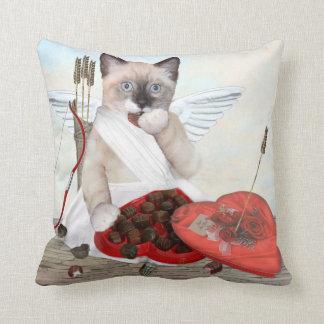 Cupid Kitten Throw Pillow