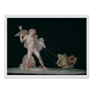 Cupid led by butterflies (oil on panel) poster