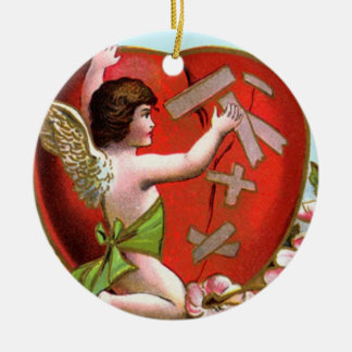 Cupid Mending Broken Heart Ceramic Ornament