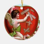 Cupid Mending Broken Heart Round Ceramic Ornament