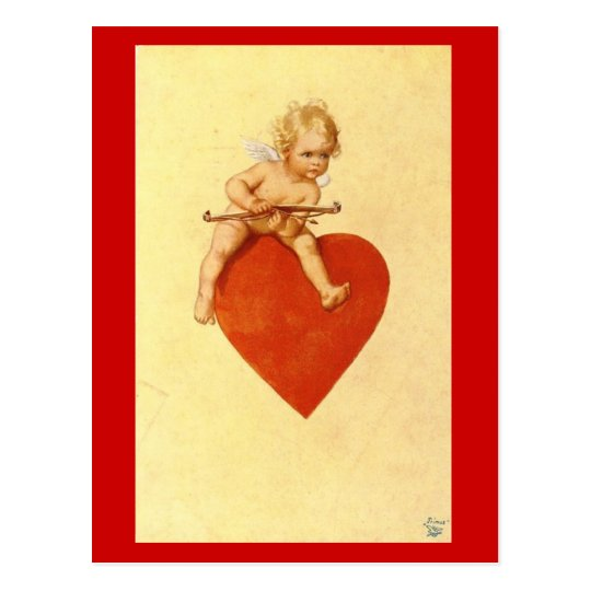 Cupid on a Heart -  Postcard
