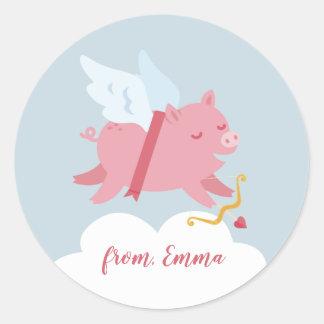 Cupid Pig Valentine Sticker