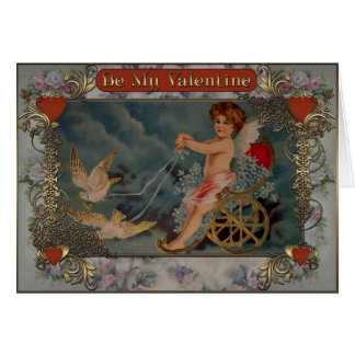 Cupid riding a trolley with pigeons. card
