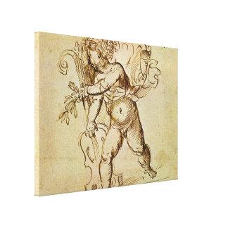 Cupid with a Violin by Campagnola, Renaissance Art Canvas Prints
