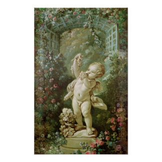 Cupid with Grapes Poster
