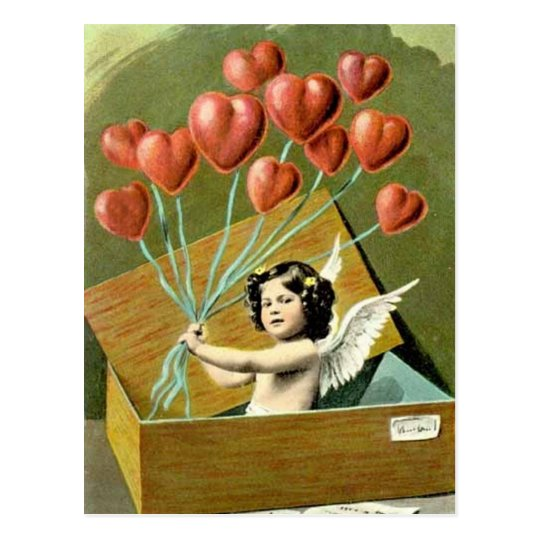 Cupid with Heart Bouquet Postcard