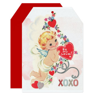 Cupid with red heart card