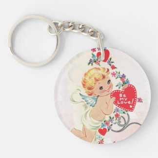 Cupid with red heart Double-Sided round acrylic keychain