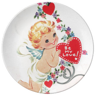 Cupid with red heart plate