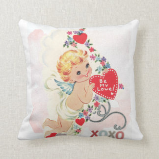 Cupid with red heart throw pillow
