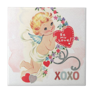 Cupid with red heart tile