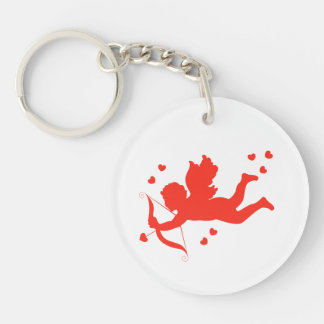 Cupid with red hearts Double-Sided round acrylic keychain