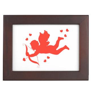 Cupid with red hearts keepsake box