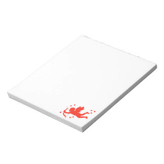 Cupid with red hearts notepad