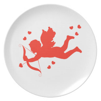 Cupid with red hearts plate