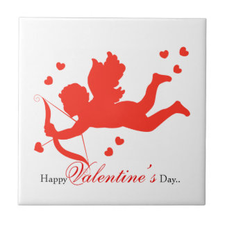 Cupid with red hearts tile