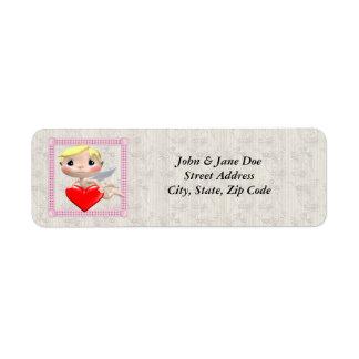 Cupidon et coeur étiquette d'adresse retour