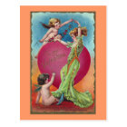 Cupids Decorating Woman's Big Heart Postcard