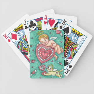 CUPID'S HEART AND KITTEN BICYCLE PLAYING CARDS
