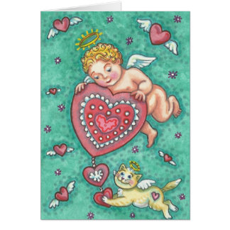 CUPID'S HEART VALENTINE NOTE CARD Customize