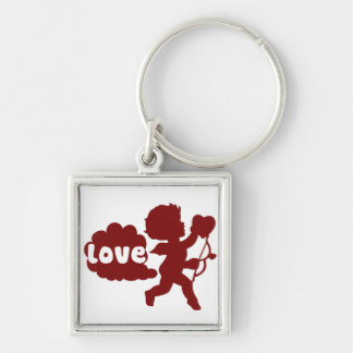 Cupids Love Fart Silver-Colored Square Keychain