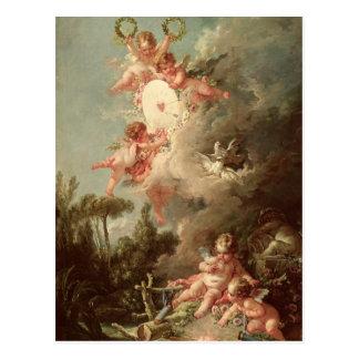 Cupid's Target, from 'Les Amours des Dieux' Postcard