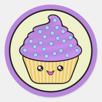 Cuppy Cake Purple Kawaii Round Sticker