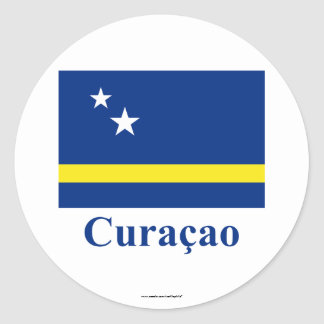 Curacao Flag with Name in Dutch Round Sticker