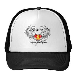 Cure Childhood Cancer Heart Tattoo Wings Hats