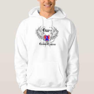Cure Colon Cancer Heart Tattoo Wings Sweatshirts