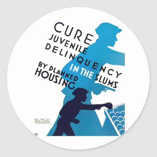 Cure juvenile delinquency in the slums round sticker zazzle for Stickers juveniles